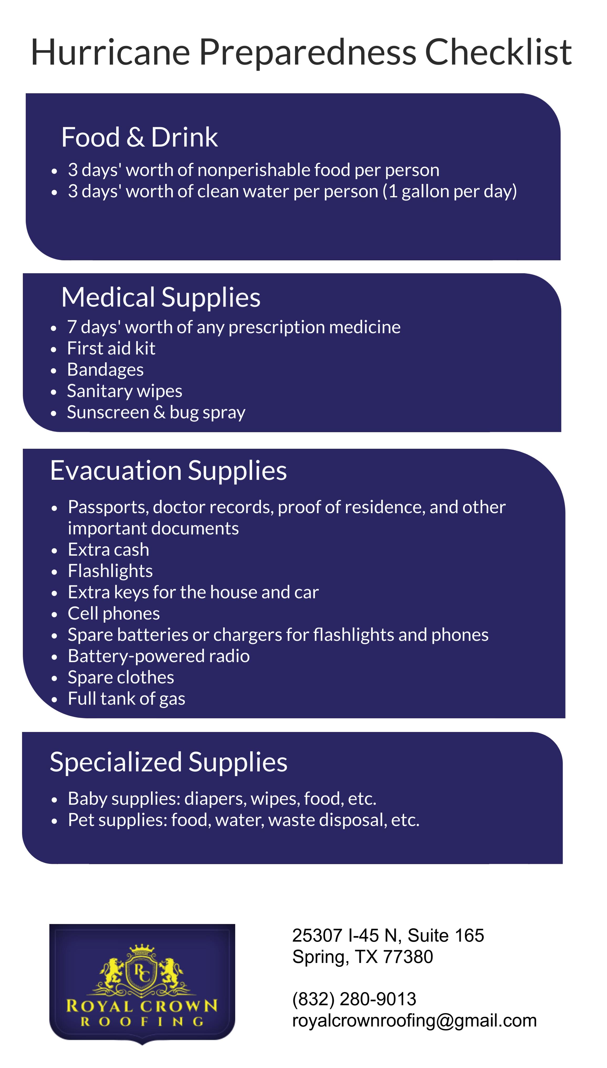 Hurricane Preparedness: The Essential Checklist, Royal Crown Roofing, Conroe, TX