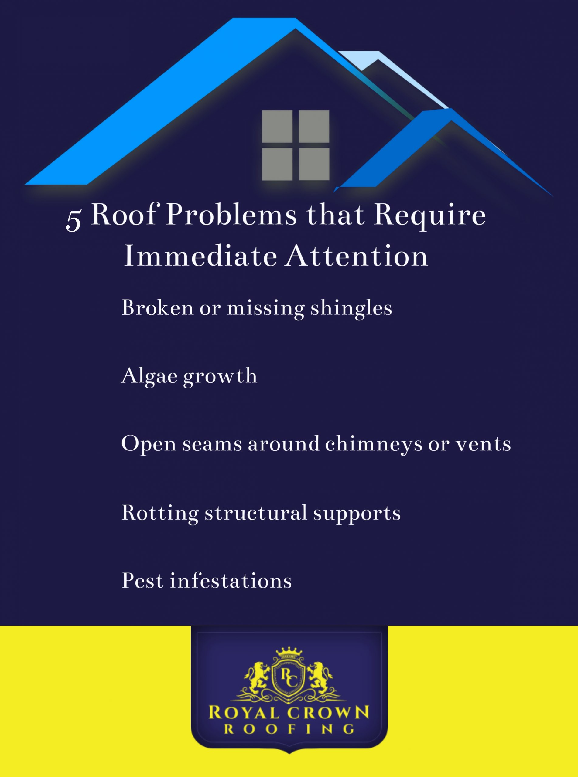 5 Roof Problems that Require Immediate Attention, Royal Crown Roofing, Conroe, TX